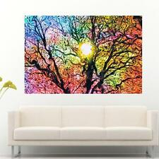 Colorful Abstract Psychedelic Trippy Tree Sun Art Silk Poster Decor 20'' x 13''