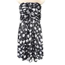 White House Black Market WHBM A-Line Strapless Dress Women Size 2 Black Floral
