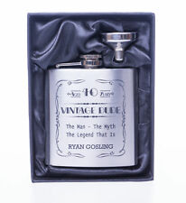 Personalised VINTAGE DUDE Birthday Hip Flask & Gift Box 40th/50th/60th/65th/Dad