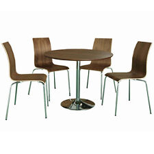 Walnut Finish Bentwood Round Dining Table and Chair Set with 4 Seats