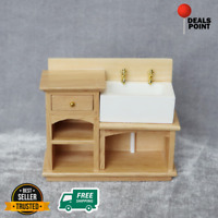 Luxury Wooden Miniature Wash Basin Cupboard Furniture 1/12 Dollhouse Decor Gift