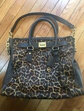 Michael Kors Large Hamilton Leopard Print Calf Hair Leather Shoulder Bag Padlock