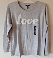 "GAP Womens XXL Gray Heather ""LOVE"" Embroidered Sweater Rayon Nylon Thin Knit New"