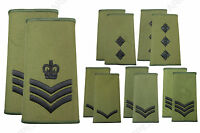 NEW British Army RANK SLIDES Olive Green Military Uniform Patches - Rank Option