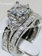 3CT Princess cut Diamond Engagement Ring Wedding Set 14k White Gold Platinum