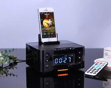 Hot Bluetooth Speaker Alarm Clock FM Docking Charger Station for IOS Samsung HTC