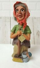 """Vintage Heico Western Germany Old Woman Bobble Head  Nodder Witch 9"""""""