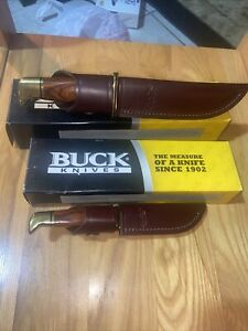 Lot 2 Buck Knives 119 And 102 Special Brass w/ Cocobolo Wood Handle Knife Set