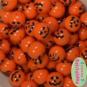 20mm Jack O Lantern Pumpkin Print Chunky Bubblegum Beads 20 pc