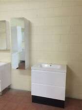 1200mm White Gloss Polyurethane Wall Hung Mirror Bathroom Tall boy/Side Cabinet
