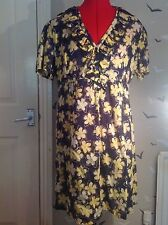 "BARGAIN £9.99:La Redoute creation floral dress, 14, frill neck vgc, 35""L, cotton"