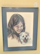 PATTI LINDSTRAND 1983 YOUNG ALASKIN GIRL * ALASKAN ART *  FRAMED AND MATTED