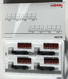 MARKLIN HO DB GERMAN RR SET OF 4 FLAT BED WITH 12 COAL CONTAINER     48270