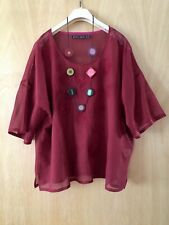 GUDRUN SJODEN ARTY QUIRKY UNUSUAL LAGENLOOK BOHO BOXY EMBROIDERED TOP SIZE X/ XL