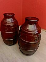 Vintage Barrel of Beer Brown Bottles Set of 2