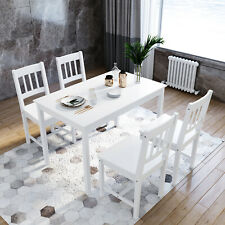 Modern Dining Table and Chair Sets Kitchen Solid Wooden White Furniture Home