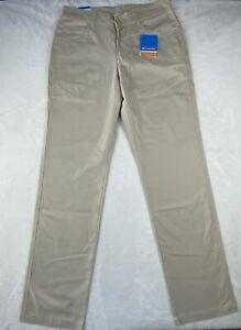 NWT Columbia Men's Khaki Hiking Outdoor 5 Pocket Pants size 32 x 34 Omni-Shade