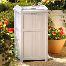 Outdoor Trash Can Hideaway Garbage Patio Deck Waste Lid Java Bin Resin 33 Gallon
