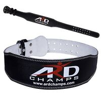 "ARD Weight Lifting 4"" Leather Belt Back Support Strap Gym Power Training BLACK"