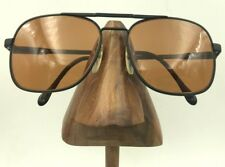 abc3b70c46 Vintage Luxottica Carlos Matte Black Square Aviator Pilot Sunglasses Italy