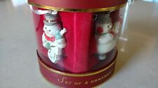 Lenox set of Four snowmen musical ornaments, great condition in box!