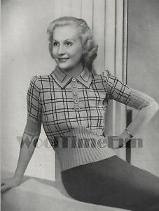 Knitting Pattern Vintage 1930s/1940s Ladies Plaid/Check Sweater/Jumper.