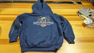 Youth Kids Harley-Davidson Motorcycles Unisex Medium Hoodie Blue Sweatshirt