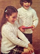 FCk2 - Knitting Pattern - Children's ARAN Style Jumpers - 22-28""