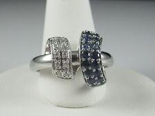 18K Sapphire Diamond Ring White Gold Ribbon Blue Sapphire Fine Jewelry Size 8.5