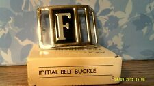 "RARE VTG 1983 AVON  INITIAL ""F"" BELT BUCKLE-SILVERTONE-NEW IN BOX -FREE SHIPPING"