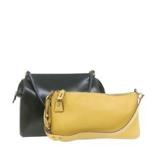 PRADA Shoulder Bag 2Set Black Beige Leather Auth rd1815