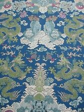Schumacher Curtain Fabric 'MAGIC MOUNTAIN DRAGON - BLUE' 2.5 METRES Linen Mix