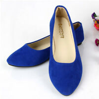 Ladies Solid Flat Work Shoes Women Bow Ballet Ballerina School Pumps Dolly Size