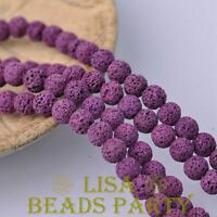 30pcs 8mm Round Lava Stone Natural Gemstone Loose Spacer Beads Purple