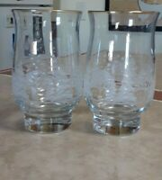 2 Vintage Arby's Frosted White Winter Scene Footed Tumbler Glasses Libbey