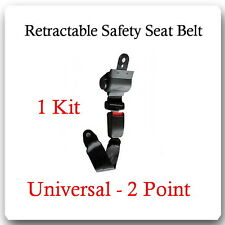 (1 Kit ) Universal Strap Retractable Car Safety Seat Belt Black 2 Point