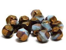 9mm Blue Amber Bronze Picasso Czech  Glass Central Cut Round Beads (15) #4144