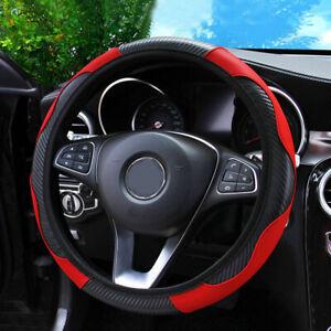 1Pc Car Steering Wheel Cover Carbon Fiber Leather Non-slip Fit 37-38CM Universal