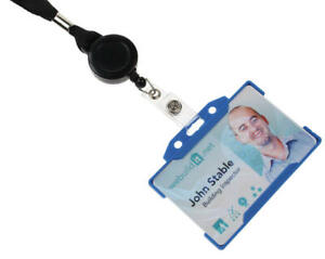 Double Sided ID Card Badge Holder & Lanyard Neck Strap With Retractable ID Reel