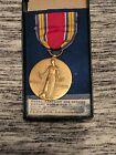 VINTAGE US World War II Medal Campaign And Service Victory Metal on ribbon NRMT