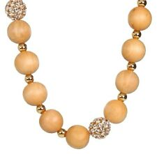 Kate Spade Wood You Be Mine Necklace NWT LightWood Beads w/ Crystal Pave Accent