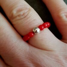 RED CORAL STERLING SILVER STRETCH RING BEADED YOGA HEALING CHAKRA JEWELRY GIFT