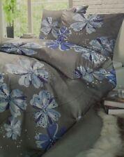 Schiesser Renforce Bettwäsche Set grau Blumen-Muster 155 x 220 cm