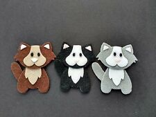 Handmade 3 cat Embellishments.felt Die cuts in brown, black and grey