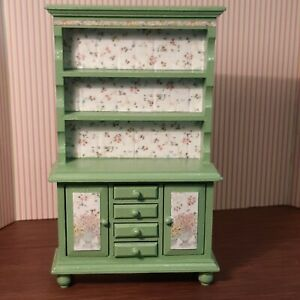 Dollhouse Miniature 1:12 Wood Green Cupboard/ Hutch