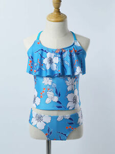 Girls Bikini Swimwear Swimsuit Kids Tankini Tops+Bottoms Bathing Suit Beachwear