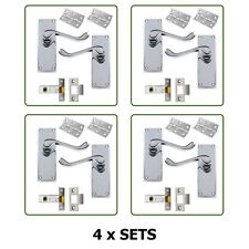 Door Handles x 4 Pairs Scroll Lever Latch SET in Chrome with fixings