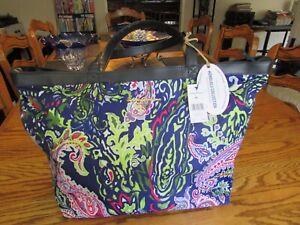 Tommy Bahama Large Honolulu Blue Paisley Weekender Tote Bag NWT $160