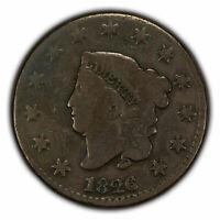 1826 1c Coronet Head Large Cent SKU-X1548