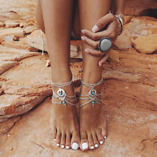 SALE Silver Alloy Layered Chain Blue Turquoise Bead Link Adjustable Anklet Beach